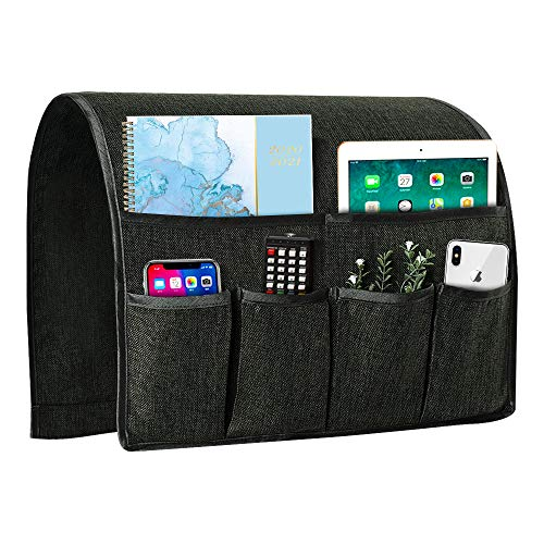 Joywell Sofa Armrest Organizer, Remote Control Holder for Recliner Couch, Arm Chair Caddy with 6 Pockets for Magazine, Tablet, Phone, iPad, Dark Gray