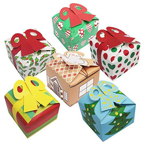 Belle Vous Geschenkboxen mit Schleife (24 Stk) - 15 x 15 x 11 cm Weihnachtsboxen Geschenkschachtel Karton Weihnachten Geschenk - Geschenkkarton Verpackung Faltbar für Kekse, Gebäck, Geschenke