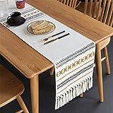 春のパーティー、秋の休日、日常の使用のための金の幾何学模様の白い房状のタッセルテーブルランナー(35X220CM)