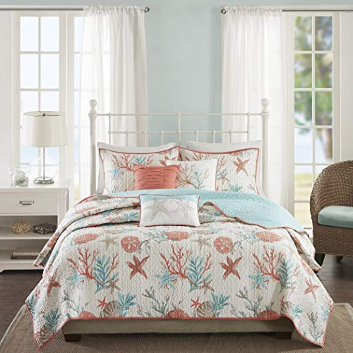 UN 6 Piece Pink Coastal King/Cal King Size Coverlet Set, Beautiful Quilted Beach House Themed Bedding Coral Reefs Sea Shell Star Fish Ocean Vacation Sand Nautical Lake Cottage, Cotton