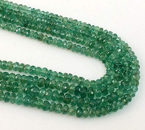 5 inch Strand Natural Emerald 3-4 mm rondel facet kralen voor sieraden maken - Emerald kralen, natuurlijke Emerald facet rondel kralen, groene smaragd ketting, 3-4 mm, 5 inch