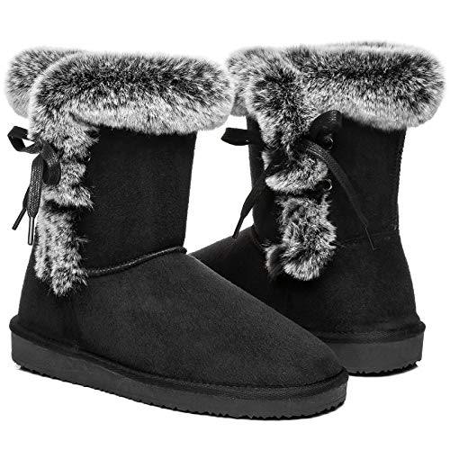Women's Classic Fur Snow Boots Short Winter Boots, Lined Warm Lace up Anti-Slip for Outdoor, Size 6, Black 37