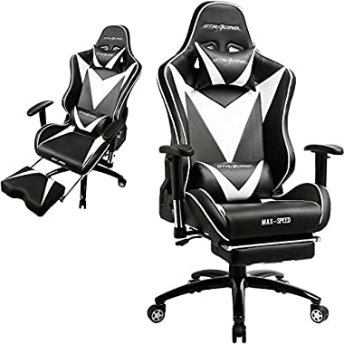 GTRACING Ergonomic Gaming Chair High back Swivel Computer Office Chair Adjusting Headrest and Lumbar Support Recliner Napping Chair with Footrest (Black)