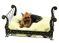 image of posh brass sleigh dog bed