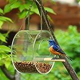 Maxjaa alimentador de pájaros Silvestres acrílico Transparente Ventana Transparente del alimentador del pájaro Redondo semicerrado alimentación de Aves Cadena de Estaciones Colgantes de Tipo Vent