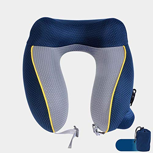 XKMY Cojín de cabeza en forma de U OUtdoor Tourist Airplane Soporte de cuello Almohadas plegables para silla de asiento cojín cojín de viaje reposacabezas (color gris)