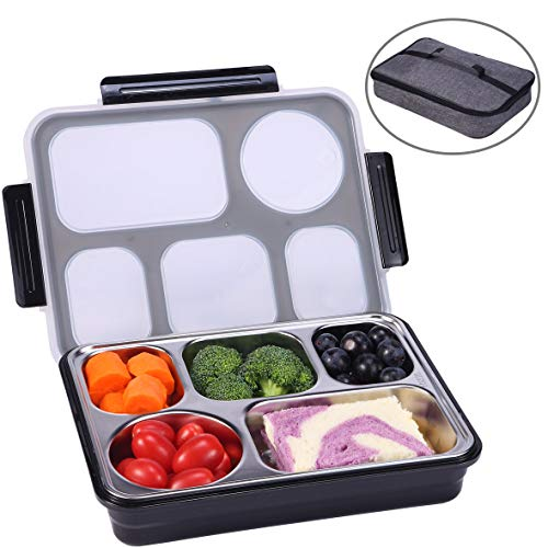 Monamour Large Stainless Steel Bento Box, Leak-proof Lunch Box with 5 Compartments, Lunch Container for Adults and Highschool Students with Lunch Bag Included, Great for Work and School (Black)