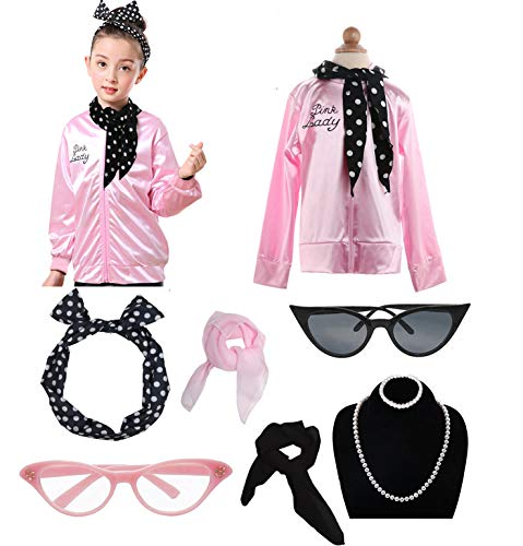 Grease Girls 50's Pink Ladies Costume Jacket Outfit Set (XS, Pink)