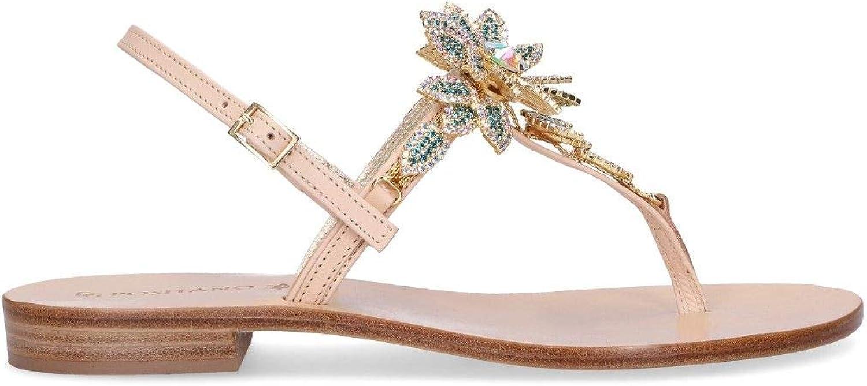 POSITANO Women's 4929BEIGE Beige Leather Sandals