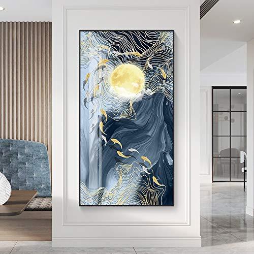 N / A Rahmenlose Malerei Moderne Landschaftsmalerei Mondölgemälde Poster und Wohnzimmer Korridor Original Wandgemälde Wanddekoration artZGQ7452 30X55cm