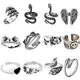 12 pezzi anelli punk vintage set animale anello aperto anello gotico anelli impilabili per donne ragazze da uomo