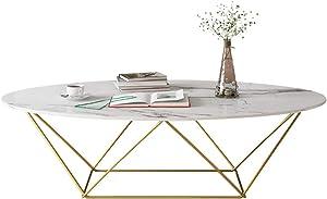 KUKU-mesa de café Mesa de Centro de mármol Moderna Oval de la encimera, Tabla de té Triangular de Oro del Hierro, Oficina pequeña de la Sala de Estar del apartamento