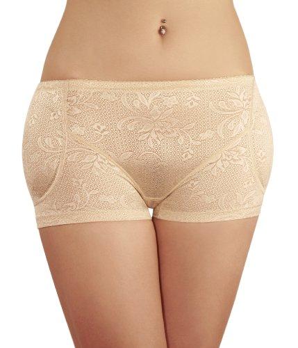 SODACODA Boyshort Foam Padded Hip and Butt Enhancer with Tummy Control Lowrise Lace (Nude, XXL)