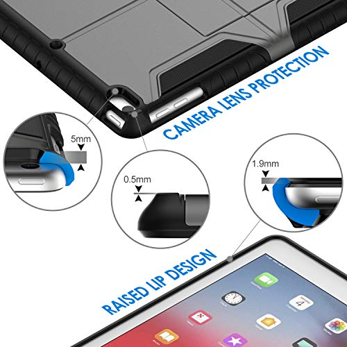 JETech Hülle Kompatibel mit iPad 9,7-Zoll-Generation 6/5, 2018/2017 Modell, Dual Schicht Design Schutzhülle, Grau