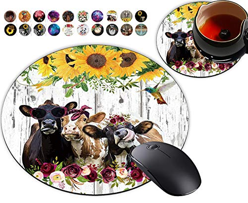 Round Mouse Pad, Farm Cow Sunflower Farmhouse Barn Wood Designs Non-Slip Rubber Base Gaming Mouse Pads and Coaster Set for Working Or Game, Desk Accessories, Cool Mouse Pad