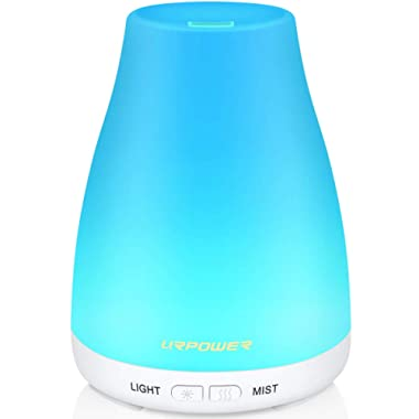 URPOWER 2nd Version Essential Oil Diffuser with Adjustable Mist Mode Waterless Auto Shut-off and 7 Color LED Lights for Home Office