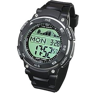 [ラドウェザー]ダイバーズ腕時計 タイドグラフ 100m防水 デジタル時計 (ブラック(通常液晶))