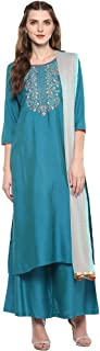 STOP Womens Round Neck Solid Embroidered Palazzo Suit