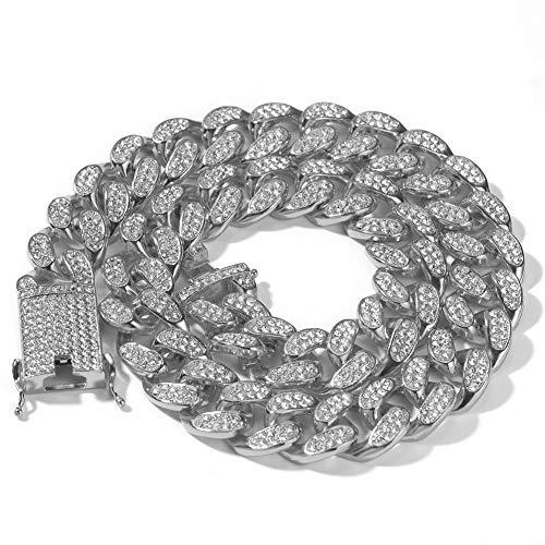 Moca Jewelry Hip Hop Iced Out Miami - Cadena cubana chapada en oro blanco de 18 quilates, 20 mm de ancho, para hombres y mujeres
