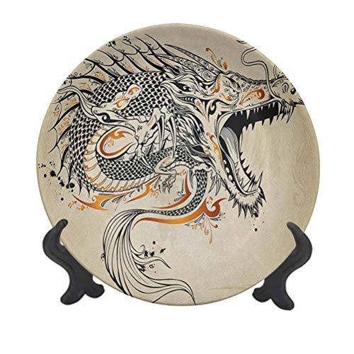 Plato decorativo de cerámica colgante de dragón japonés de 15,24 cm, diseño de criatura...