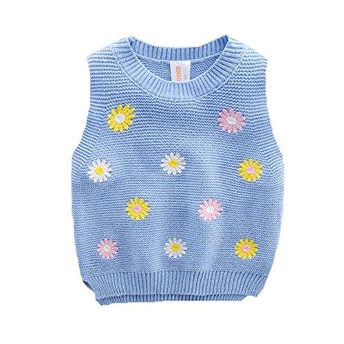 Elfin Park子供服 クルーネック ニット ベスト スクール プルオーバー セーター キッズ 女の子 花柄 刺繍 秋 冬 ブルー120