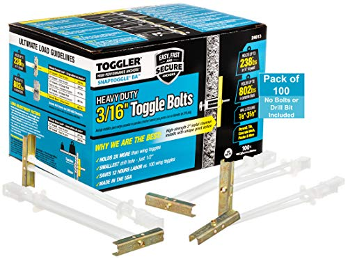 TOGGLER SNAPTOGGLE BA Toggle Anchor, Zinc-Plated Steel Channel, Made in US, 3/8' to 3-5/8' Grip Range, For 3/16'-24 UNC Fastener Size (Pack of 100)