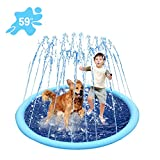 Splash Sprinkler Pad for Dogs and Kids-59 Inch Inflatable Large Plastic Dogs Pools,Summer