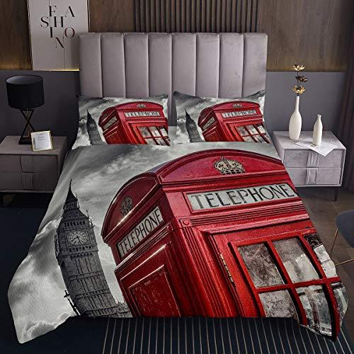 Famoso juego de colcha de cabina telefónica The Big Ben Symbols Coverlet para niños y niñas Londres Reino Unido decoración vintage acolchada con 2 fundas de almohada 3 piezas de ropa de cama King