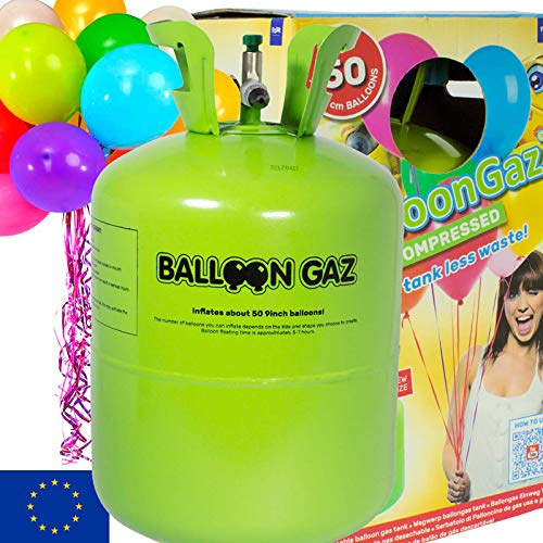 BALLONGAS FÜR 50 LUFTBALLONS + 50 BALLONS + FÜLLVENTIL + 50 ÖKO-BALLONSCHNUR | Helium Einweg Flasche Luftballon Folienballon Deko Geburtstag Party Hochzeit