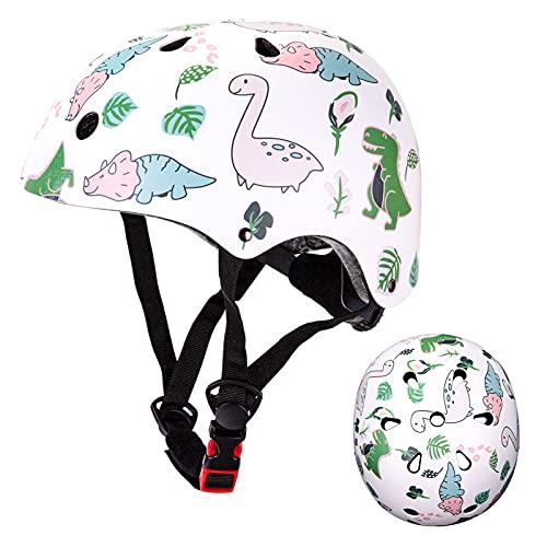 Casco Bici per Bambini, Casco da Bicicletta Casco da Scooter, Casco BMX, Casco da Skater, Casco Regolabile per Bambini Unisex 2-5 Anni (50-54 cm) (dinosauro bianco)
