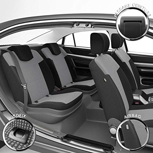 DBS - Housses de siège sur Mesure pour C1 108 (05/2014 à 2021)   Housse Voiture/Auto d'intérieur   Haut de Gamme   Jeu Complet en Tissu   Montage Rapide