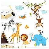 Little Deco Kinderbilder Dschungeltiere I M - 120 x 86 cm (BxH) I Wandtattoo Kinderzimmer Junge Deko Babyzimmer Junge Wandsticker Jungs Sticker Wandaufkleber DL204