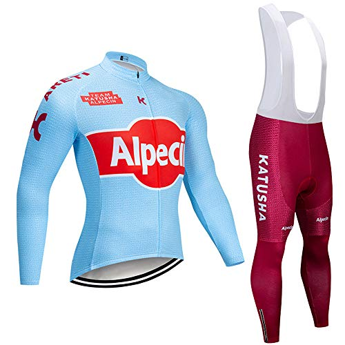 MTBHW Maillot Ciclismo Primavera/otoño Hombre 3D Acolchado Gel Ropa Térmica Ciclismo Camiseta Bicicleta+Culote Ciclismo