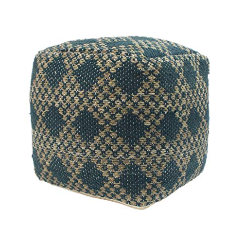 Christopher Knight Home Mamie Cube Pouf, Boho, Beige and Teal Yarn
