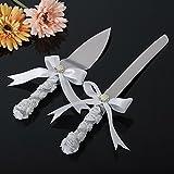 Juego de cuchillos para tartas de boda, cinta blanca de marfil y cristales de Swarovski, juego de cuchillos de ceremonia para servir tartas y cuchillos