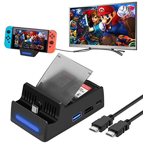 HEYSTOP Dock for Nintendo Switch with HDMI Wire, Nintendo Switch Dock Replacement 1080P Mini Charging Station with HDMI Cable, USB 3.0 high Speed TV Docking Station with 4 Game Cards Storage