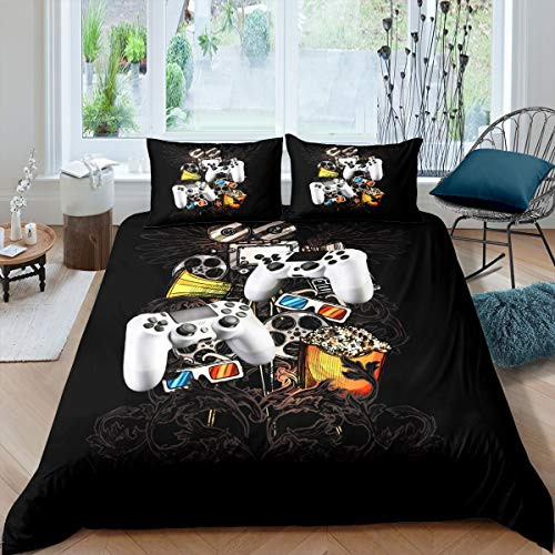 Gamepad - Juego de funda de edredón para consola de videojuegos, para niños, niñas, adolescentes, decoración de dormitorio, megáfono, gafas 3D, tamaño king