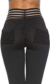 Mujer Push Up Leggins Fitness Pantalones Deportivos a Rayas Mallas con Bolsillos Vita Alta Yoga Leggings Gym Workout Pirata Pantalones