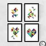 Nacnic Set de 4 láminas para enmarcar CORAZÓN. Cuatro Posters con imágenes geométricas. Composición de CORAZÓN. Láminas Estilo nordico (A4)
