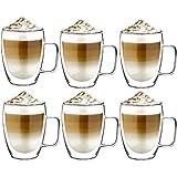 Latte macchiato Gläser mit Henkel Set 6 x 350 ml | Thermogläser Doppelwandig | Kaffeeglas, Trinkgläser, Teegläser, Cappuccino Gläser aus Borosilikatglas