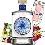 Sado Gin Gift Set, Bouquet of 30 Mixed Freesias, Gin-infused treats, Three unique bottles of Tonic and Name-a-Rose Gift