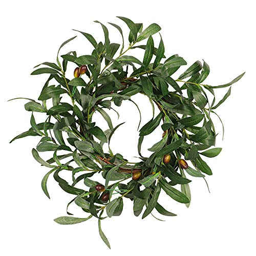 Kamenda Olive Leaf Wreath Rustic Farmhouse, Faux Foliage Wreath, for Front Door, Welcome, Christmas, Outdoor, Indoor
