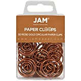 JAM PAPER Circular Paper Clips - Round Paperclips - Rose Gold - 50/Pack