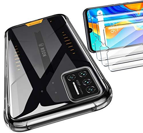 HYMY Tasche für UMIDIGI Bison Hülle (6.3 Zoll) + 3Pcs Panzerglas für UMIDIGI Bison Schutzfolie - Transparent Schutzhülle TPU Handytasche Bildschirmschutzfolie Glas-Clear