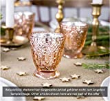 Feste Feiern Teelichthalter Castello 4er-Set Glas 8x7cm Altrosa Rose´ Kerzenhalter Windlicht Dekoration Tafel edle Tischdeko Advent - 5