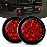 Nilight - TL-18 2PCS 4' Round Red LED Trailer Tail Lights w/Surface Mount Grommet Plugs IP67 Stop Brake Turn Tail Lights for Truck Trailer RV Jeep, 2 Years Warranty
