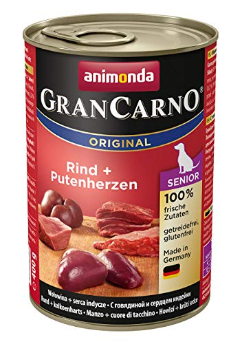 animonda GranCarno Hundefutter Senior, Nassfutter für ältere Hunde ab 7 Jahren, Rind + Putenherzen, 6 x 400 g