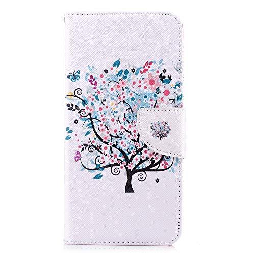 CoverKingz Handyhülle für LG Q Stylus - Handytasche mit Kartenfach LG Q Stylus Cover - Handy Hülle klappbar Motiv Flower Tree weiß