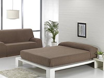 Texturas VIP - Colcha Multiusos ZIG-Zag Sofá y Cama Low Cost (Varios tamaños Disponibles) (180_x_220_cm, Café-Beige)