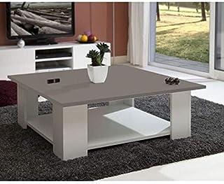 LIME Table Basse Carrée Style Contemporain Mélaminée Blanc Et Taupe   L 89  X L 89 Cm